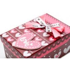 Коробка подарочная Сердце с бантом / прямоуг. средн.