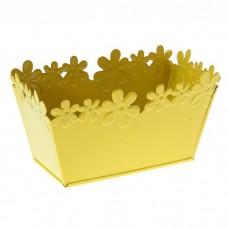 Кашпо оцинкованное Цветочный край ванночка, малое, жёлтое 139739