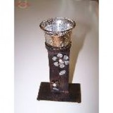Подсвечник металл стекло на 1 свечу плоский фигурный 19*11*6см
