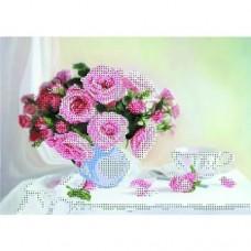 Набор для вышивки бисером Розы розовые 40*47 см.