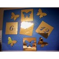 Часы наклейка, Бабочки, многоразового использования, золото 60*44см 729553